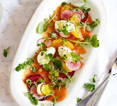 James Martin's stunning seafood starter is guaranteed to impress at any dinner party - layer with beetroot, orange and tangy horseradish cream