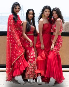 Being a bridesmaid is so much more than attending the bachelorette party and wearing coordinating dresses on the big day. Indian Bridesmaid Dresses, Designer Bridesmaid Dresses, Indian Wedding Outfits, Bridal Outfits, Indian Dresses, Indian Outfits, Wedding Dresses, Indian Lehenga, Bridal Lehenga Collection