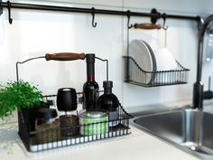 Wall-mounted racks for the kitchen - would love to do this in the kitchen...i'd make my own out of pipes!