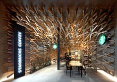 A starbucks coffee designed by Kengo Kuma at Dazaifutenmangu in Fukuoka, Japan