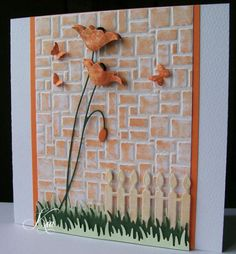 By kiagc at Splitcoaststampers. Background is Darice brick wall embossing folder.  Link explains how brick wall was created.