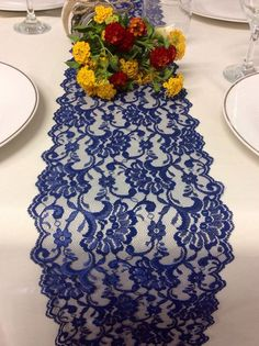 NAVY BLUE Lace/Table Runner/Weddings/ Decor/ 5ft X 7in Wide, Navy Weddings,  Party Decor,NAVY Decor
