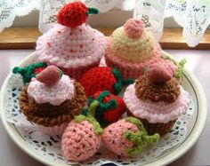 Crochet Strawberries & Cakes by sophiecat91, via Flickr