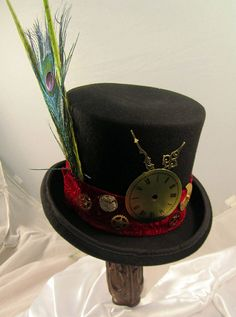 3316962e2ad Steampunk hat Men s Black Topper with small red by JillieKatHats