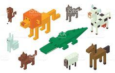 Animal vector isométrica 3d iconos colección illustracion libre de derechos libre de derechos