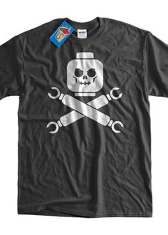 Funny Block Skull Screen Printed T-Shirt Tee Shirt T Shirt Mens Ladies Womens Youth Kids Funny Geek Pirate #menst-shirtsfunny