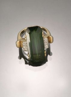 Art Deco 14-Karat Yellow-Gold, Platinum, Green Tourmaline and Diamond Dinner Ring -  Circa 1935