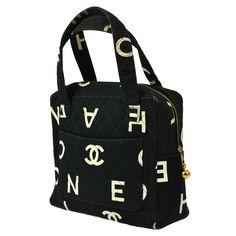 Authentic Chanel Quilted Hand Bag Black Canvas CC Hobo Bag Vintage KR00127 | eBay