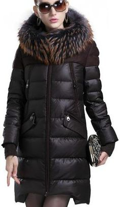 Fur Hooded Asymmetric-Hem Puffer Down Coat in Brown - DESIGNER INSPIRED FASHIONS