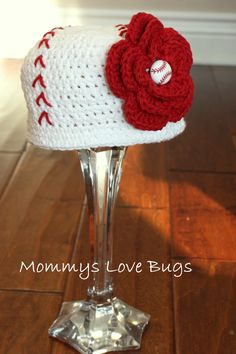 Play Ball Crochet Baseball Girl Beanie with removable Baseball Flower Hair Clip - Newborn through 4T Sizes Available. $23.00, via Etsy.