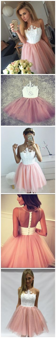 Hot Sale Charming A-line Pink Scoop Short Mini Tulle Short Prom Dress Homecoming Dresses Formal Dress Custom Made HIgh Quality Prom Dress Homecoming Cocktail Dresses