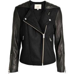 Iró Glass wool biker jacket with leather ($910) ❤ liked on Polyvore featuring outerwear, jackets, black, zip jacket, real leather jackets, wool leather jacket, zipper jacket and wool jacket