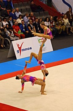 Richmond Senior trio come second in Acrobatic World Cup Maia 2014. My daughter is in the middle. Balance qualification shot.