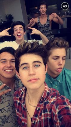 From back to front: Cameron Dallas Aaron Carpenter Matt Espinosa Bryant Nash Grier