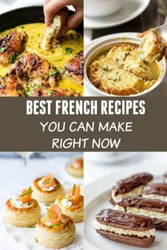 Best French Recipes You Can Easily Make At Home Love French Food? My collection of the Best French Recipes has tried and true recipes that never disappoint. From easy French soups and main dishes to mouthwatering and decadent French desserts, this recipes French Recipes Dinner, French Dinner Parties, French Cooking Recipes, Easy French Recipes, French Dessert Recipes, Vegetarian French Recipes, French Dinner Menu, Gourmet Dinner Recipes, Fancy Dinner Recipes