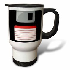 3dRose Retro 90s computer black floppy disk graphic design with red label - 1990s - ninties computer tech, Travel Mug, 14oz, Stainless Steel