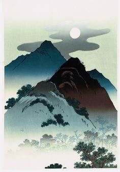 "Japanese Ukiyo-e Woodblock print, Keisai Eisen, ""Moon Landscape""                                                                                                                                                     More"