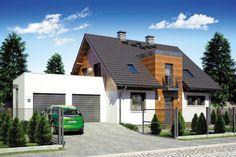 Dom jednorodzinny, wolnostojący, parterowy z poddaszem użytkowym i garażem dwustanowiskowym