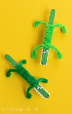 Craft Stick Crocodile Craft For Kids to Make