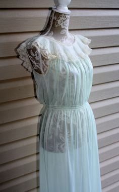 50s Sheer Sea Foam Nightgown Lingerie Made USA by RomantiqueTouch