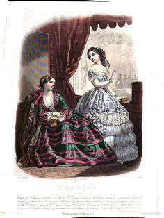 Petit courrier des dames 1854: Journal des modes 1850s Fashion, Victorian Fashion, Mode Vintage Illustration, Civil War Fashion, Fashion Plates, Fashion History, Dame, Sewing Crafts, Vintage Ladies