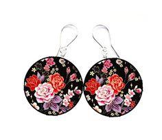 Earrings decoupage vintage rosered flowercircles by SzaraLotka, $15.00