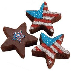 Star-Making Brownies - Old Glory brownies go together in a jiffy. Use a Star Comfort Grip Cutter to cut shapes from a pan of brownies and color them American with Patriotic Nonpareils.