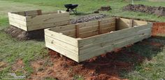 Brought our raised garden bed frames outside and sat them in-place Building Raised Garden Beds, Outdoor Settings, Outdoor Furniture, Outdoor Decor, Bedding Sets, Bed Frames, Diy, Home Decor, Log Bed Frame