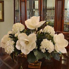 White Magnolia and Hydrangea Large Silk Flower Arrangement AR344 - Click Image to Close