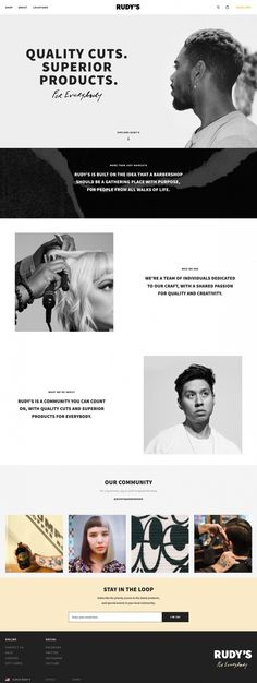 Rudy's barber shop webdesign website service award new minimal typography black and white new cool trend modern best in design inspiration m in Websites We Love