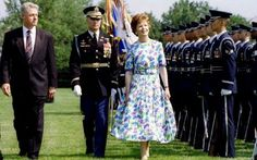 'I was elected by the women of Ireland, who instead of rocking the cradle, rocked the system.' MARY ROBINSON on being elected Ireland's first woman president in 1990. She is seen here in 1996 with US President Bill Clinton reviewing the troops at Fort Myer.