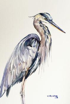 Great Blue Heron, Shore Bird Art, wetlands bird, marshland bird ORIGINAL WATERCOLOR PAINTING by alisiasilverART on Etsy