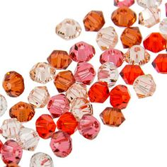 5328 3mm Swarovski Elements Crystal Mix - Creamsicle   Fusion Beads. Indian red, hyacinth, padparadscha, light peach and silk.