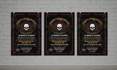HALLOWEEN 2017 – Three hanging poster display for advertising Halloween 2017 presented on picture frame. #graphicdesign #advertising #marketing #poster #largeposter #hangingposters #Halloween #HalloweenParty