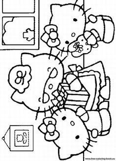 Hello Kitty Coloring Pages 23 Coloring Sheets, Coloring Books, Coloring Pages, Hello Kitty Colouring Pages, Cat Party, Cute Cats And Kittens, Embroidery Patterns, Kawaii, Sanrio