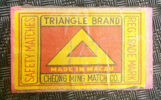 Safety matches  TRIANGLE BRAND  Made in Macau CHEONG MING MATCH CO. Reg. Trade Mark