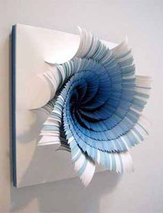 Colorful Paper Craft Ideas, Contemporary Wall Art, Paper Flowers - paper craft ideas for making blue paper flowers for wall decoration Art Mural 3d, 3d Wall Art, 3d Paper Crafts, Arts And Crafts, Paper Wall Art, Paper Paper, Cut Paper, Crepe Paper, Tissue Paper
