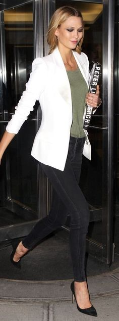 #business #casualoutfits #spring | Karlie Kloss in White Blazer, Green Tee, Black denim and Heels