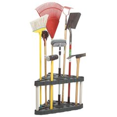 """Rubbermaid® Corner Tool Tower (5A47-00MICHR) - $19.99  32""""W x 19""""D x 20""""H For garage or shed Holds 30 long handled garden tools: rakes, shovels, etc. Balanced - will stay put without tipping Dark green"""