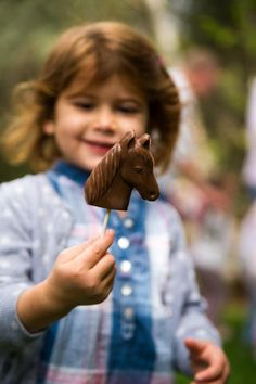 Pony Themed Birthday Party - Horse Head Chocolates true to the theme. So easy to make, but if you just feel you can't any candy store can, this is their specialty.