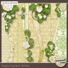 Angel of my heart Borders by PrelestnayaP Design Scrapbook Borders, Scrapbook Pages, Scrapbook Layouts, Digital Scrapbooking, Scrapbooking Ideas, Picture Templates, Heart Border, Floral Border, Scrapbooks