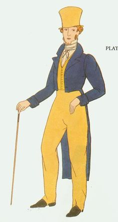 """Norris and Curtis's """"Nineteenth Century Costume and Fashion"""" illustrating typical men's costume of 1810 and 1820:"""
