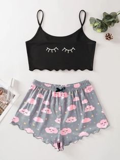 Pajama Outfits, Crop Top Outfits, Girls Fashion Clothes, Teen Fashion Outfits, Fashion Women, Cute Lazy Outfits, Trendy Outfits, Cute Sleepwear, Sleepwear Sets