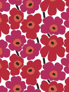 Marimekko Volume 4 Unikko x Floral Wallpaper Roll Color: Berry Red / Crimson Red White Background Wallpaper, Wallpaper Roll, Wall Wallpaper, Pattern Wallpaper, Iphone Wallpaper, Wallpaper Online, Textile Patterns, Print Patterns, Floral Patterns