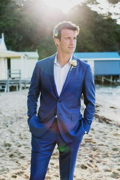 Groom Style | Gorgeous blue suit for summer/beach wedding | For more inspiration and advice visit www.weddingsite.co.uk