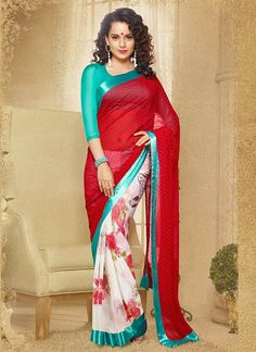 Bolly wood Indian Saree Partywear Saree Kangana Ranaut Sarees Red Off White Faux Georgette Saree Indian Wedding sari Indian Ethnic Saree
