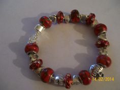 "Red ""Fabrage Egg"" Beaded bracelet w/ Heart Spacers.  Good for Mother's Day"