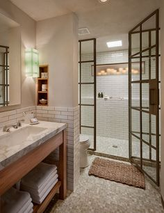 Shower w/ steel doors
