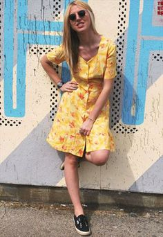 Vintage 90's Yellow Floral Dress