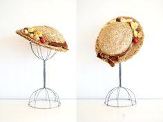 vintage 1940s hat  40s tilt hat / straw fruit by shopREiNViNTAGE, $70.00